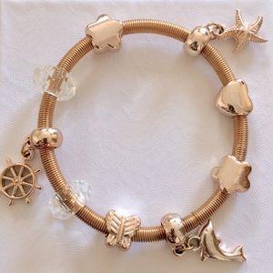 Gold Expandable Wrap Charm Bracelet:Nautical Theme
